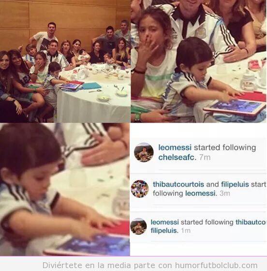 Foto hijo Messi tablet, follow Chelsea Twitter