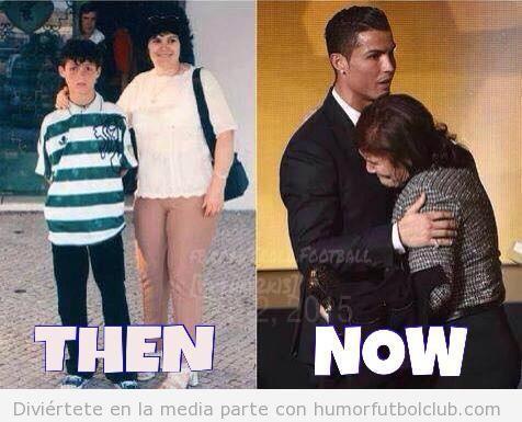 Foto de Cristiano Ronaldode niño con su madre