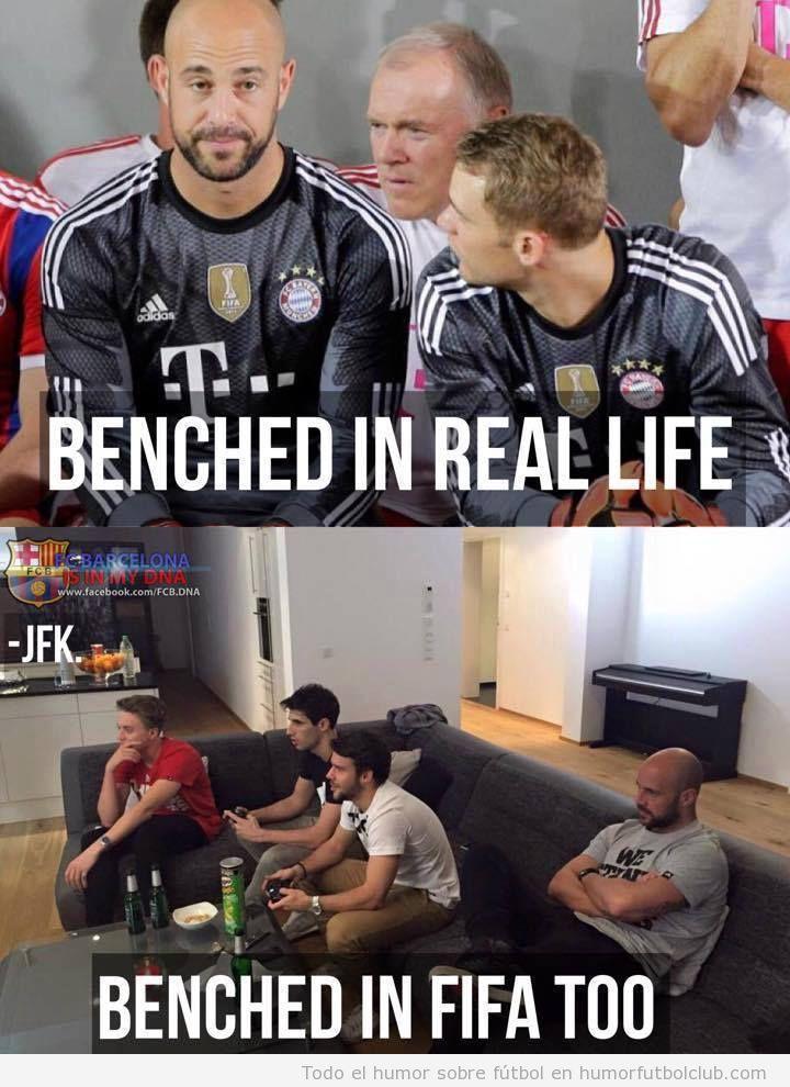 Meme gracioso fútbol, banquillo vida real vs FIFA