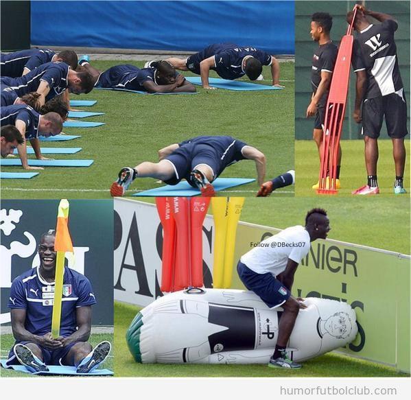 Fotos graciosas Balotelli en el entrenamiento