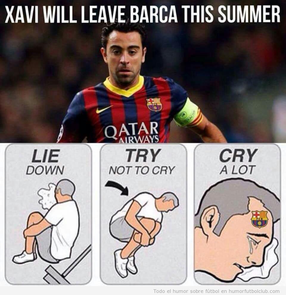 Viñeta graciosa, Xavi se va del Barça
