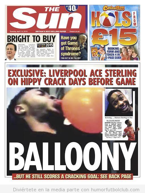 Portada The Sun, Raheem Sterling tomando gas de la risa
