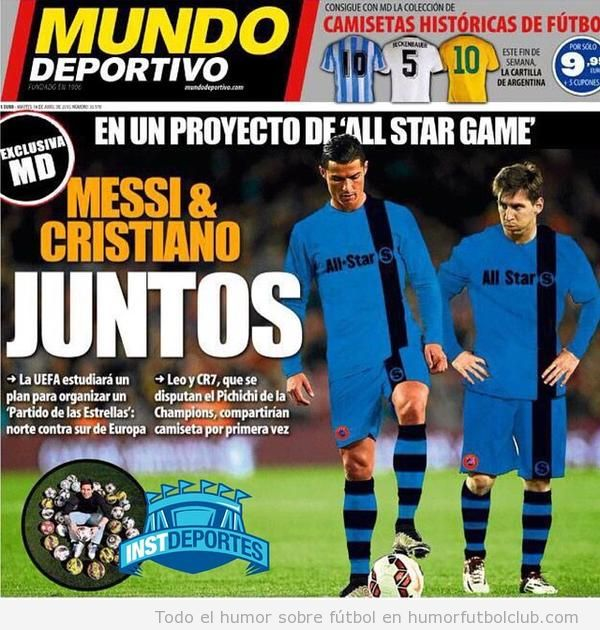 Portada Mundo deportivo, Ronaldo y Messi juntos en All Star Game