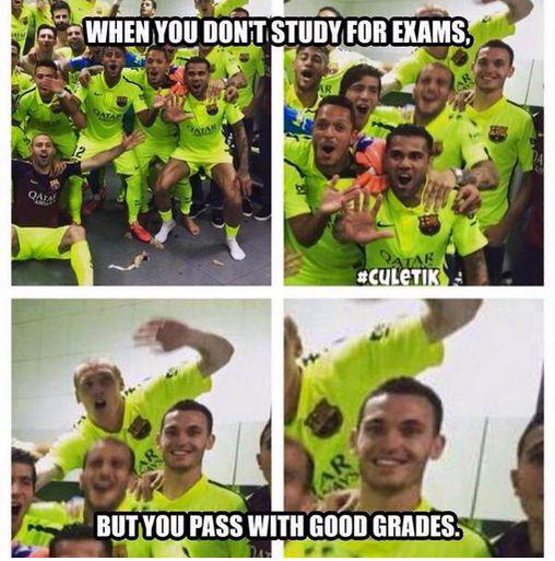 Meme gracioso celebración Barça Liga