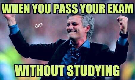Meme gracioso Mourinho, aprobar examen sin estudiar