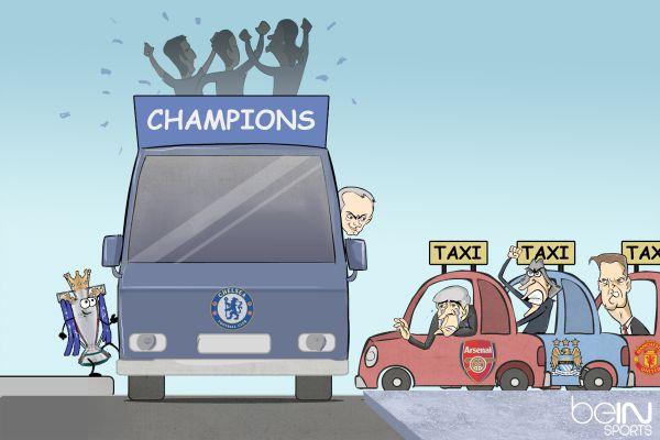 Viñeta graciosa autobús Chelsea, campeón Premier