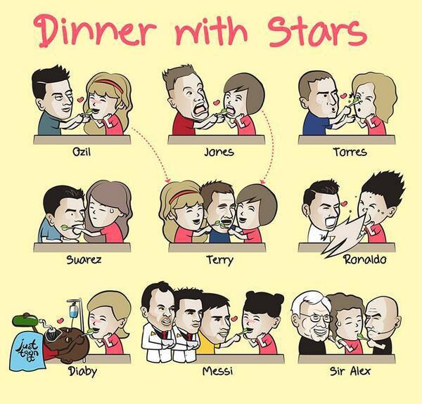 Viñeta divertida cenar con futbolistas