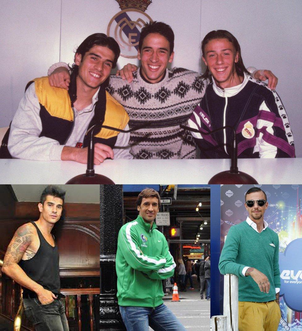 Foto de Álvaro, Raul y Guti del Real Madrid, antes y ahora