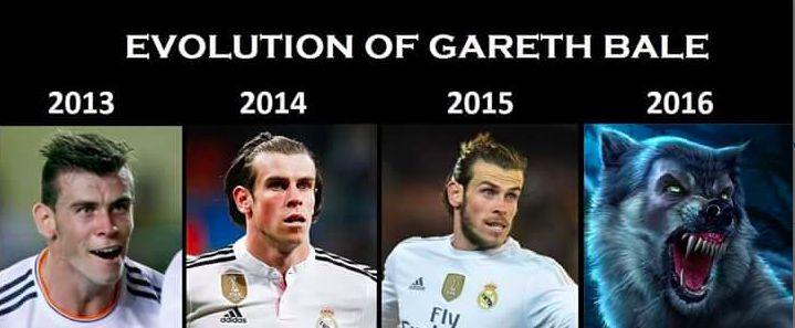 Meme gracioso transformación física de Gareth Bale