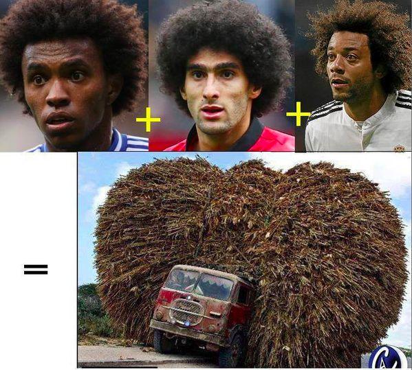 Meme divertido del pelo Fellaini y Marcelo