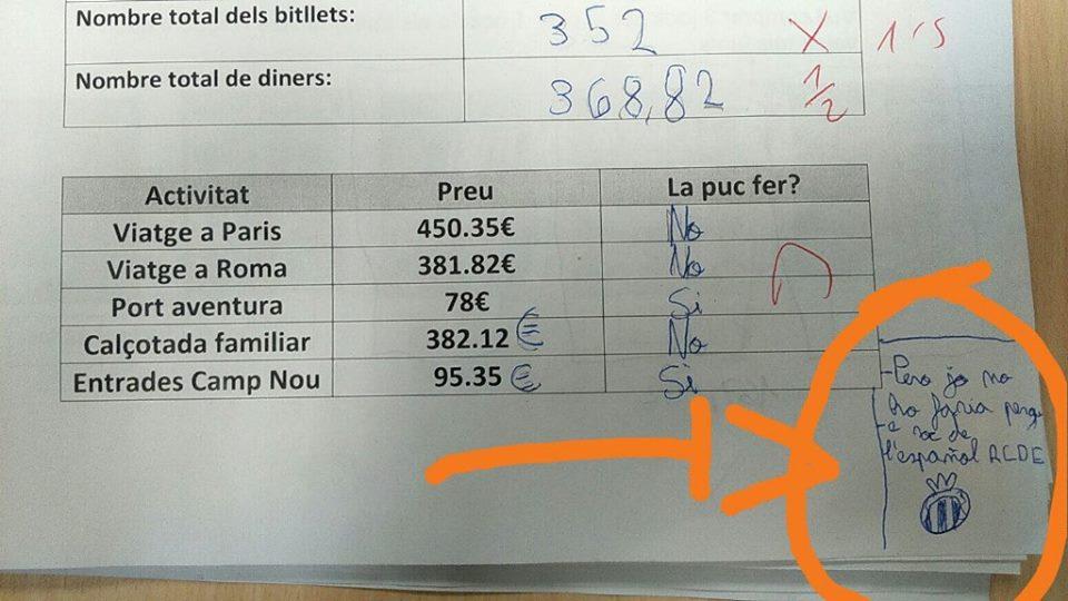 Ejercicio matemáticas entadas al Camp Nou, zasca de una niña del Espanyol