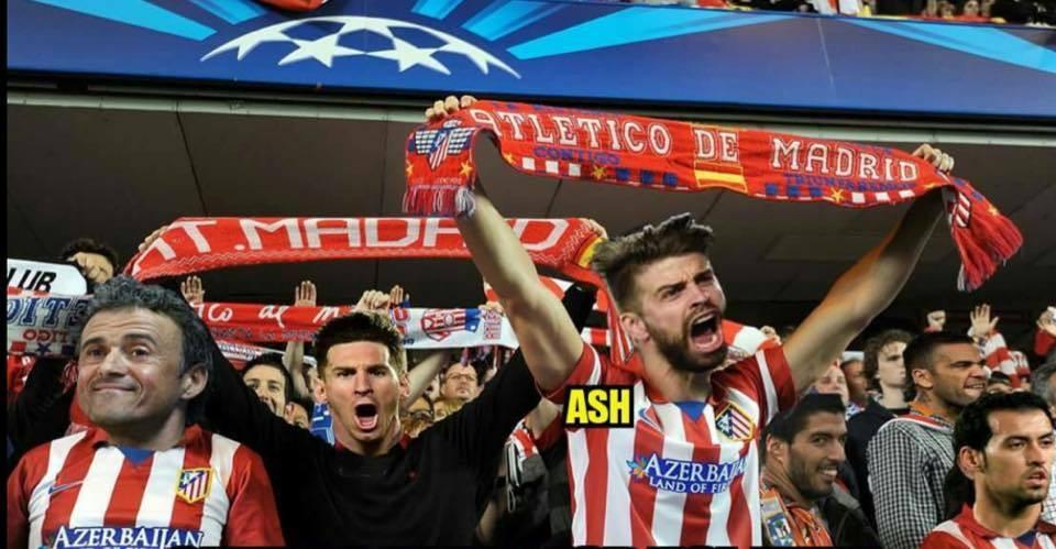 Fotomontaje jugadores del Barça fans Atlético Madrid en la final de la Champions