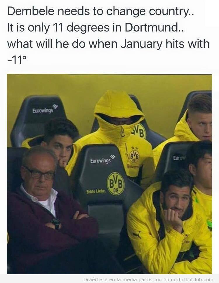 Foto graciosa Dembele Borussia Dortmund abrigado con anorak