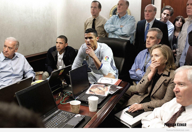 Fotomontaje Cristiano Ronaldo pose pensativa operación muerte Osama Bin Laden