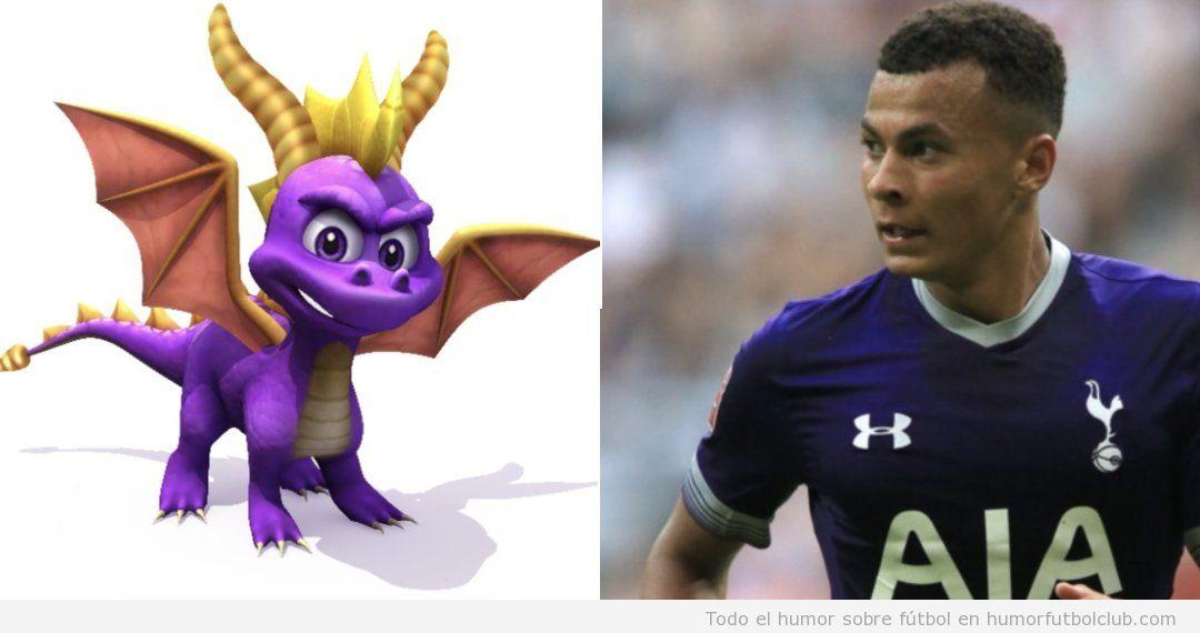 Parecido razonable del futbolista Dele Alli con Spyro The Dragon