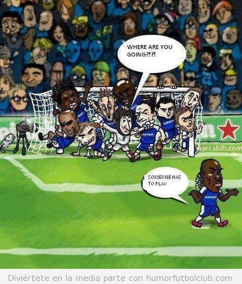 Viñeta de humor sobre la defensa del Chelsea contra el Barça en Champions
