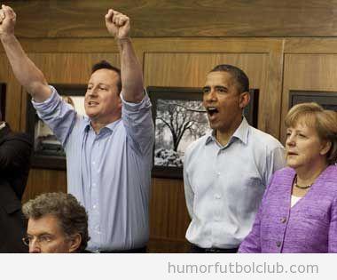 Cameron, Obama y Merkel viendo la final de Champions