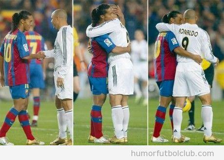 Amistad entre Ronaldinho del Barça y Ronaldo del Madrid