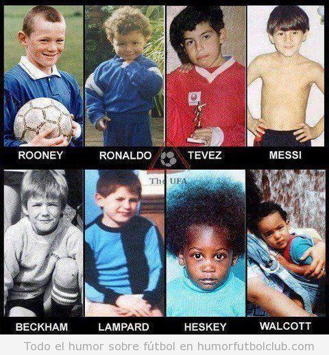 Jugadores de fútbol como Roney, Ronaldo, Messi de niños