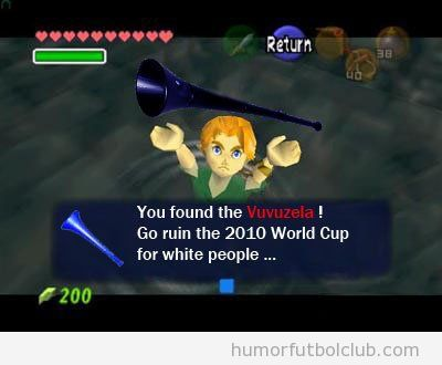 A Link, el protagonista del videojuego Zelda, le gusta el fútbol, tiene vuvuzela