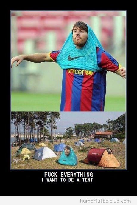 Messi dentro del peto parece una tienda de campaña