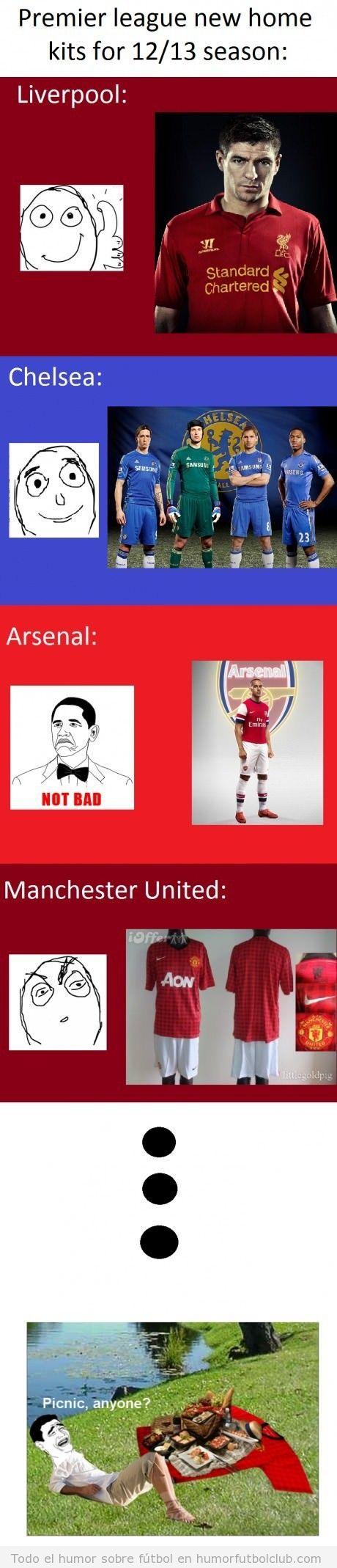 Nuevas equipaciones de la premier league, chelsea, arsenal, manchester united