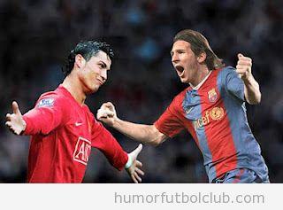 Imagen photoshopeada Messi y Cristiano Ronaldo abrazo de reconciliación