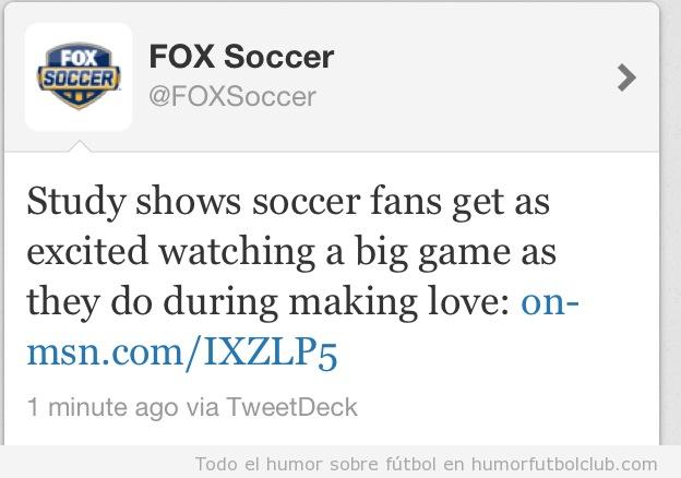 Los aficionados de fútbol sienten la misma excitación con el fútbol que con el sexo