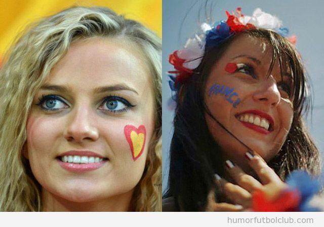 Se enfrentan dos chicas guapas y sexys, aficionadas de España y de Francia, quién ganará?