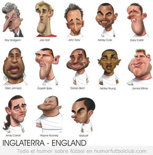 Caricatura de los jugadores de la selección de fútbol de Inglaterra