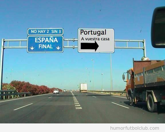 Panel de autopista Humor Protugal España Eurocopa 2012