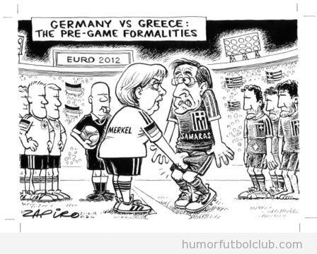 Viñeta graciosa de Merkel cogiendo de los huevos a Samaras en el partido Alemania Grecia Eurocopa 2012