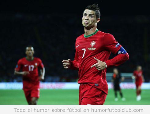 Foto graciosa de Cristiano Ronaldo cara del meme not bad en el partido Portugal Holanda Eurocopa 2012º