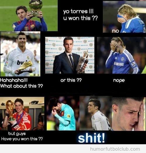 Humor Fernando Torres, no tiene balón de oro pero ganó una Copa del mundo