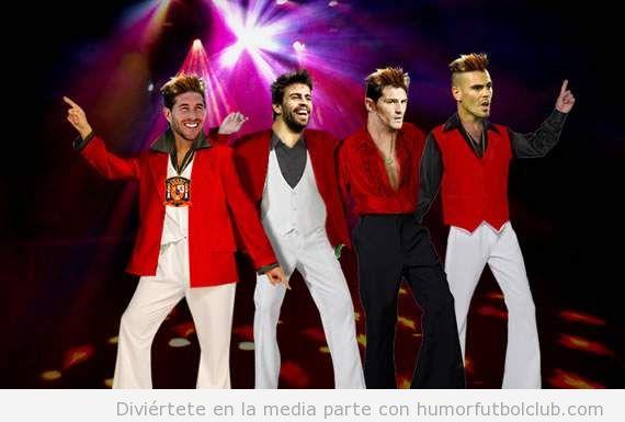 Piqué, Casillas con el mismo look de Sergio Ramos grupo música disco