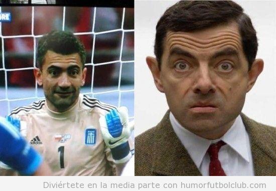 Portero de selección Grecia fútbol se parece a Mister Bean