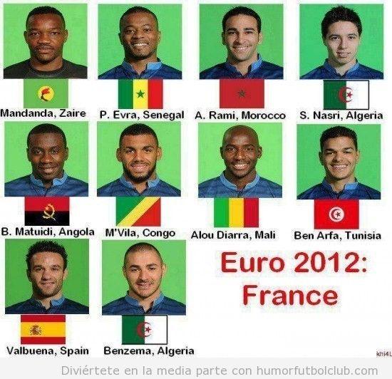 En la selección francesa de fútbol la mayoría de jugadores son de otras nacionalidades