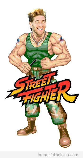 Parecido razonable de Sergio Ramos con Guile de Street Fighter