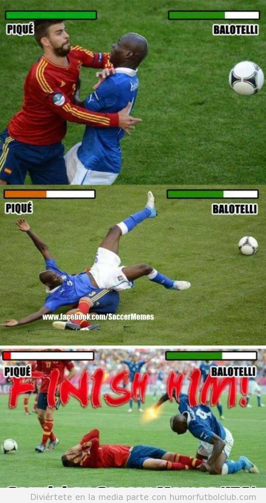 Imagenes graciosas de Piqué y Balotelli en el España Italia como si fuesen luchadores de Street Fighter