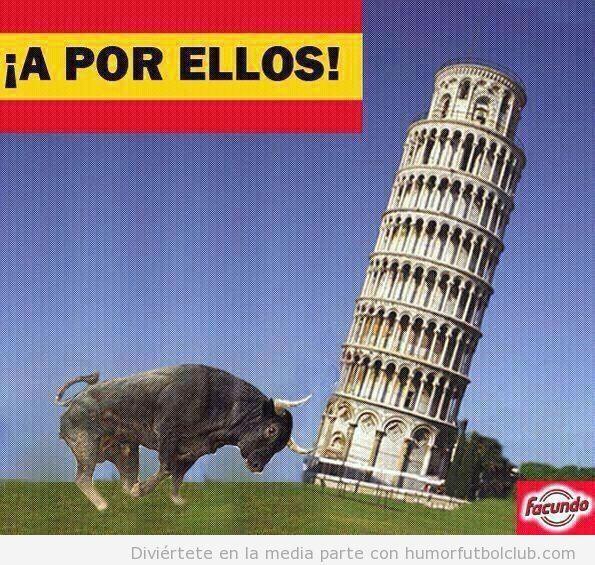 Toro español tirando la Torre de pisa, España versus Italia final Eurocopa 2012