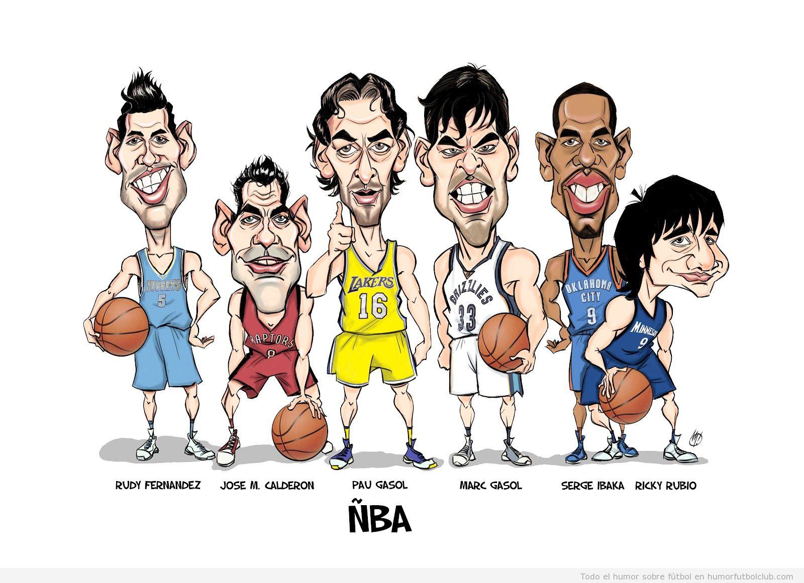 Caricatura de la ÑBA, los jugadores de basket Gasol, Calderon, Ricky Rubio, Rudy, Ibaka que juegan en la NBA