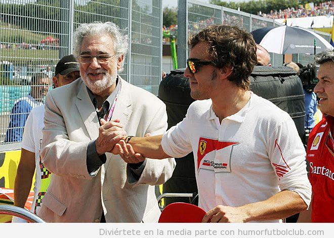 Fernando Alonso y Plácido Domingo en el GP de Hungría 2012