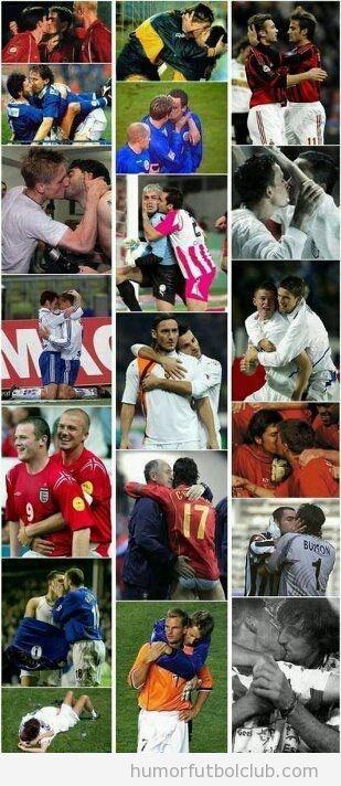 Recopilatorio de fotos de futbolistas que se dan besos en la boca y celebran los goles efusivamente
