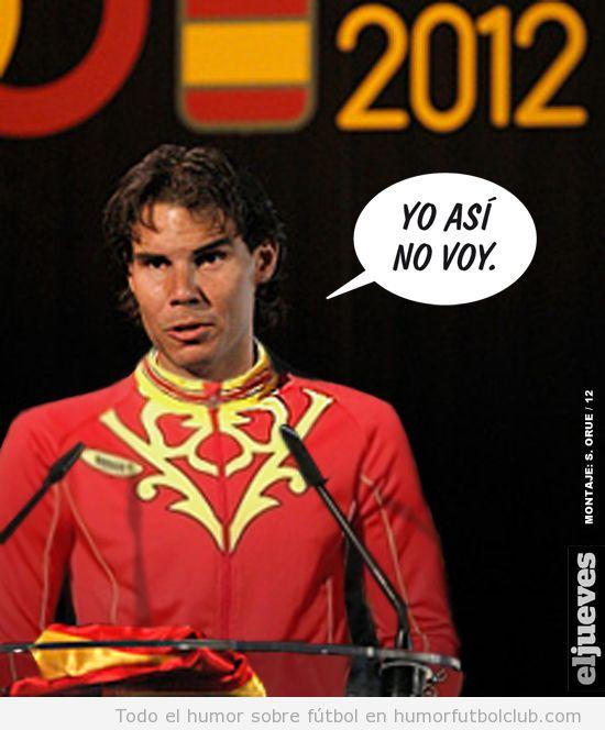 Fotomontaje de Nadal con el chándal de España en los Juegos Olímpicos 2012