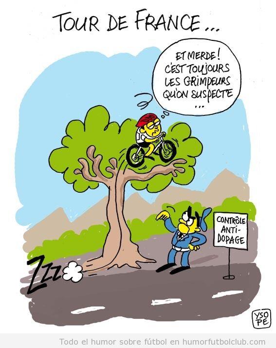 Viñeta divertida sobre un control de dopping en el Tour de Francia 2012