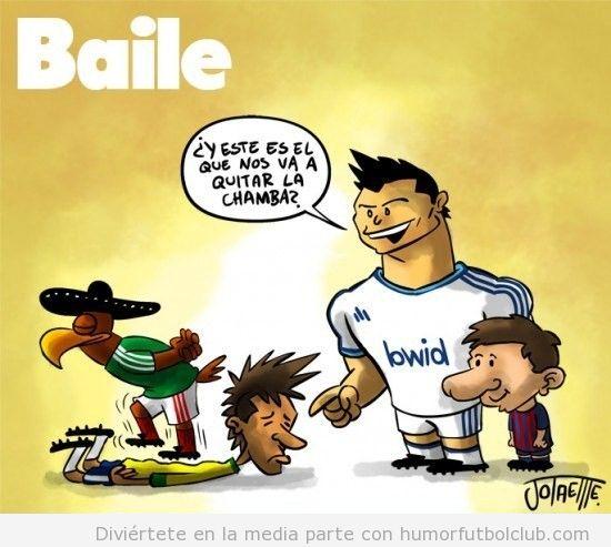 Viñeta graciosa de Cristiano Ronaldo y Messi riéndose de Neymar, aplastado por Mexico