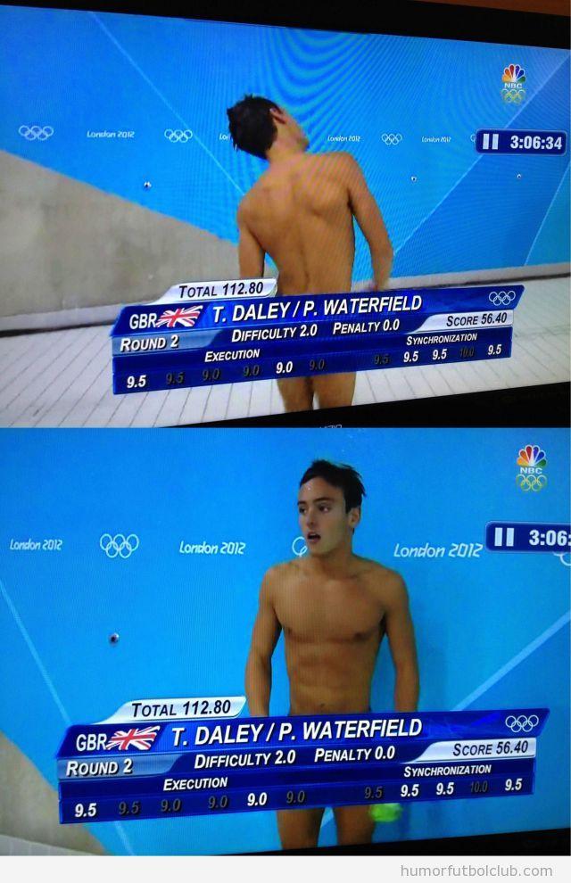 Foto en que el kyron de la tele tapa el bañador del nadador y parece que vaya desnudo JJOO 2012