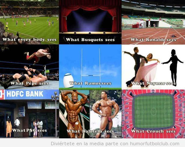 Imagen graciosa sobre como ven algunos futbolistas el campo de fútbol
