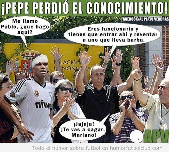 Imagen en la que le dicen a Pepe que es Pablo, un funcionario, y tiene que pegar a Rajoy
