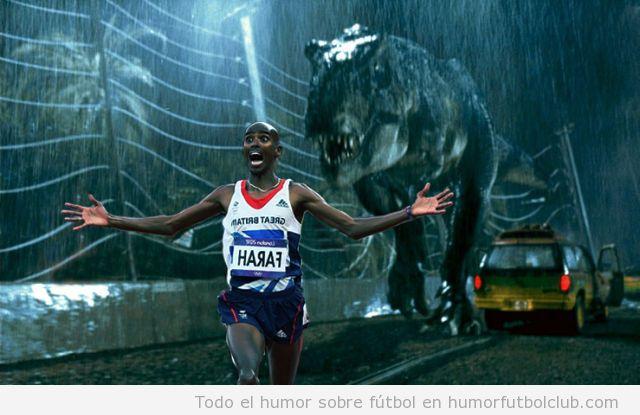 Meme del atleta Al Farah corriendo delante de dinosaurio de Jurassic Park